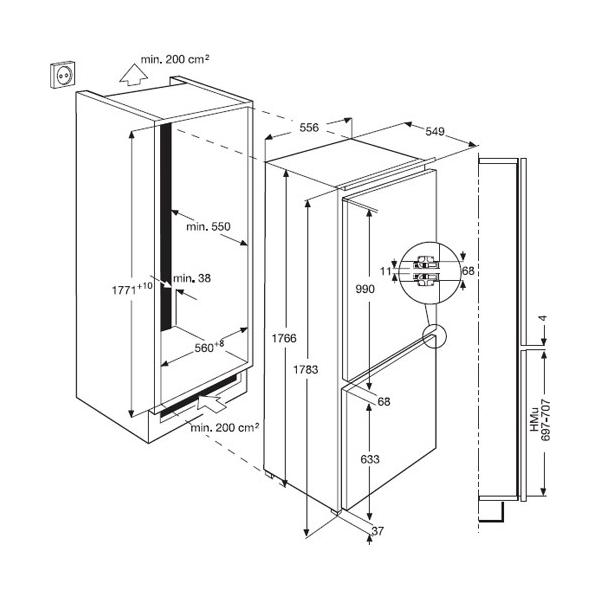 Frigorifico combi integrable aeg scs71800f0 frigor ficos - Nevera americana medidas ...